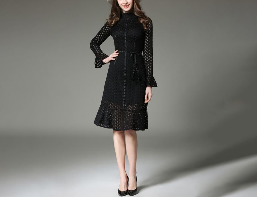 Lace Cocktail Dress with Ruffles and Tie Belt