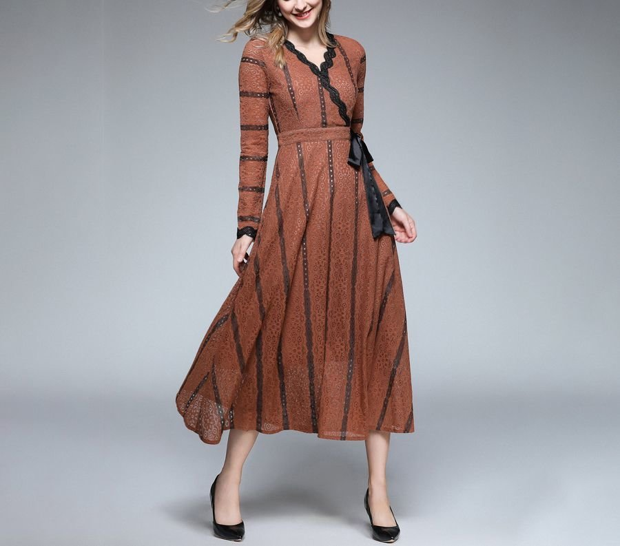 Tea Length Cocktail Dress with Lace Insertions