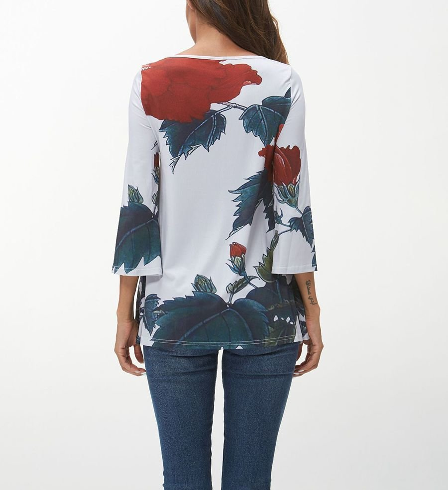 Printed Top with Front Tie