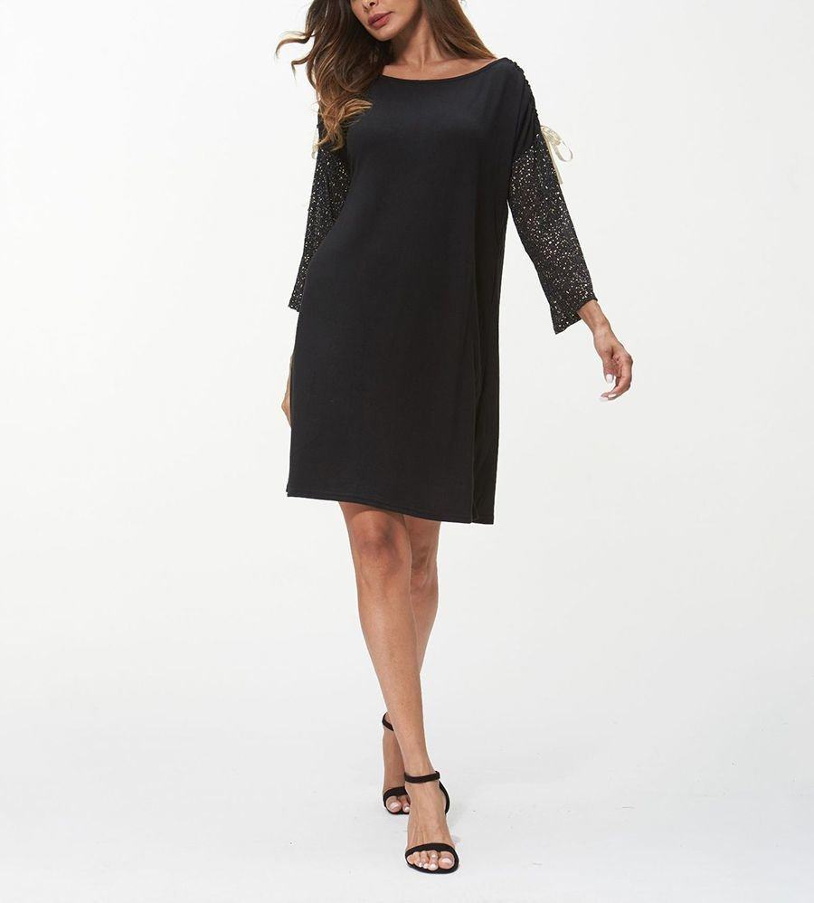 Knit Casual Dress with Contrast Sleeves