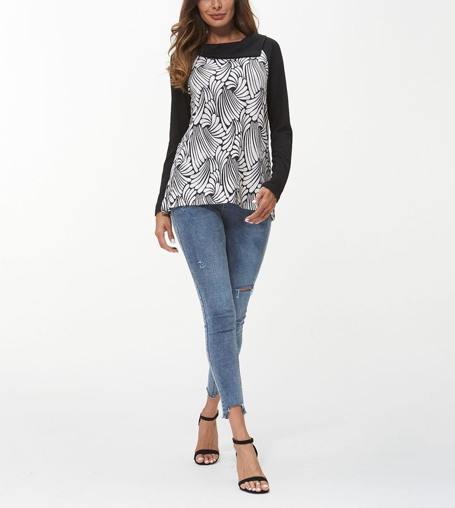 Knit Top with Black and White Abstract Print