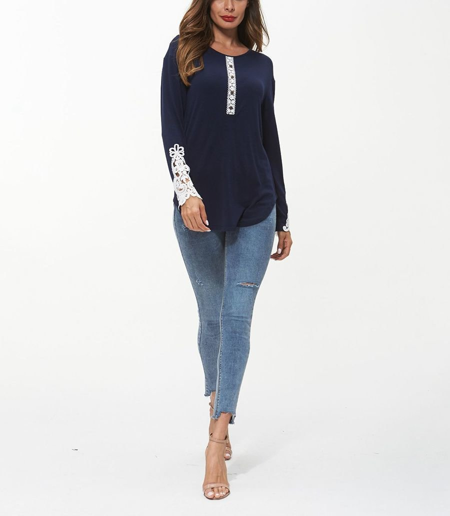 Knit Top with Lovely Lace on the Long Sleeves