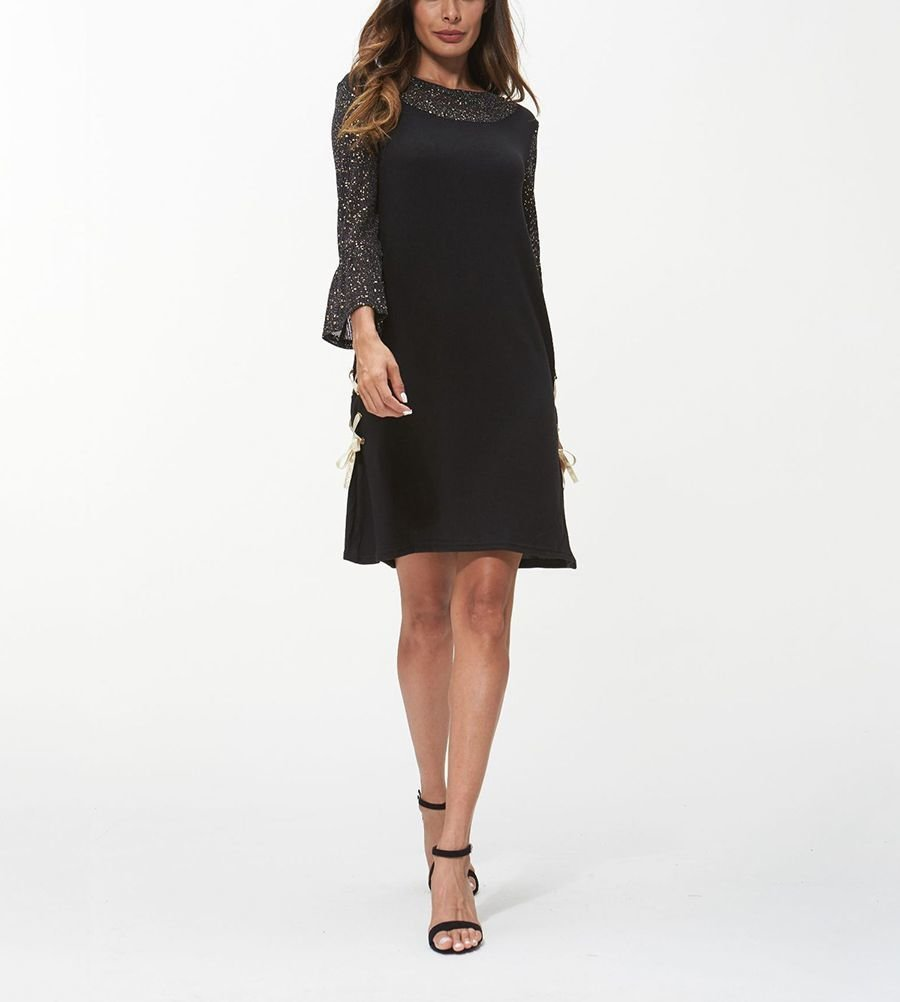 Casual Dress with Trumpet Sleeves and Side Lacing