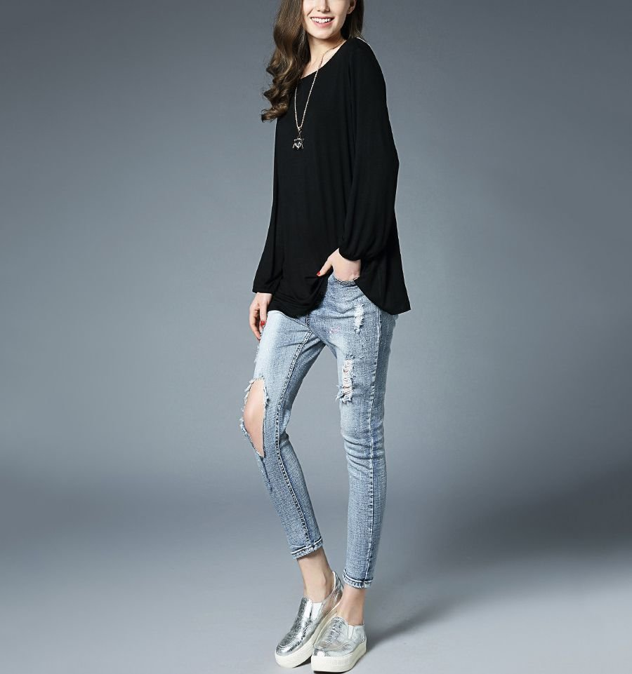 Knit Top with Low, Lace-Trimmed Back