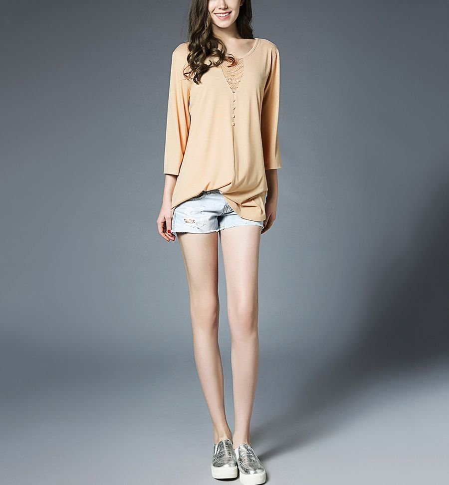 Knit Tunic Top with Lace and Button Trim in Front