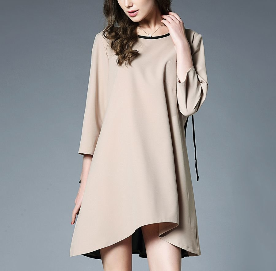 Short Casual Dress with Contrasting Back Skirt