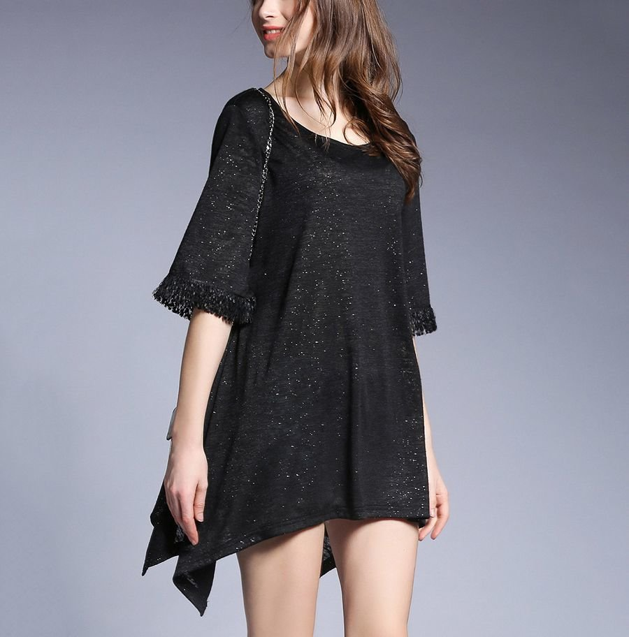 Shimmering Mini Club Dress with Fringed Sleeves