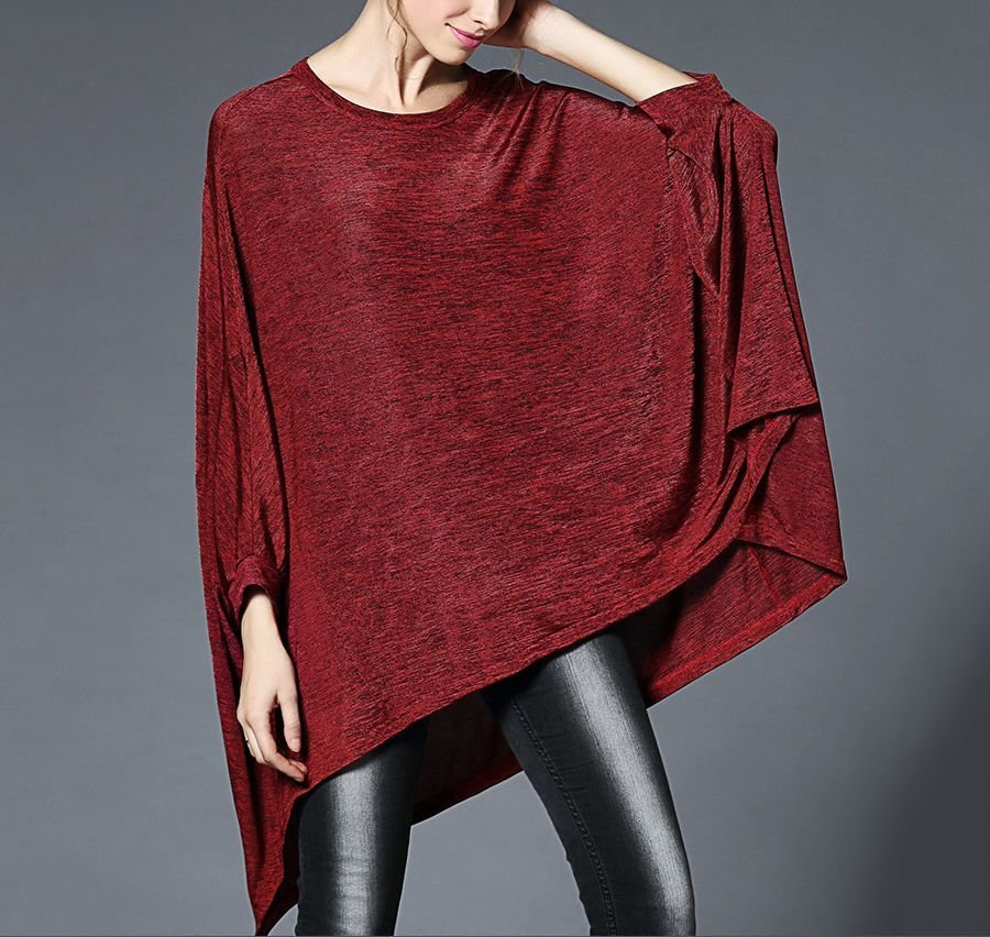 Velvety Loose Top with High-Low Hemline