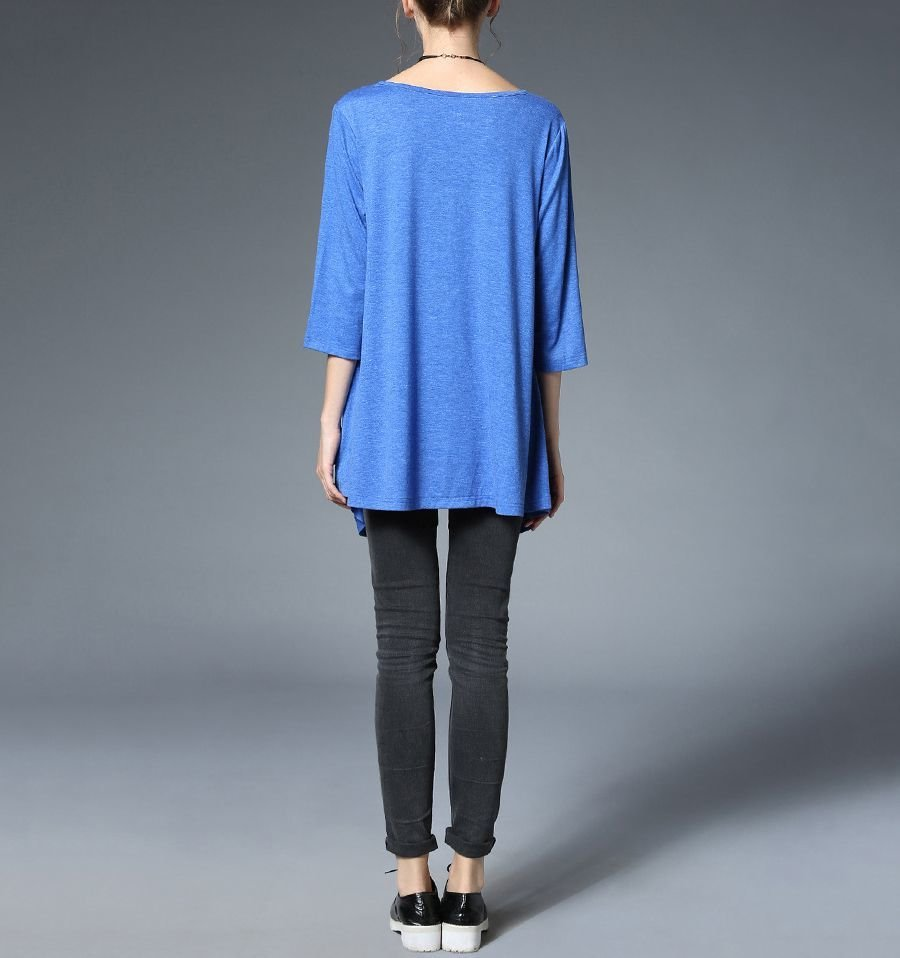 Cotton Knit Tunic Top with Side Pockets