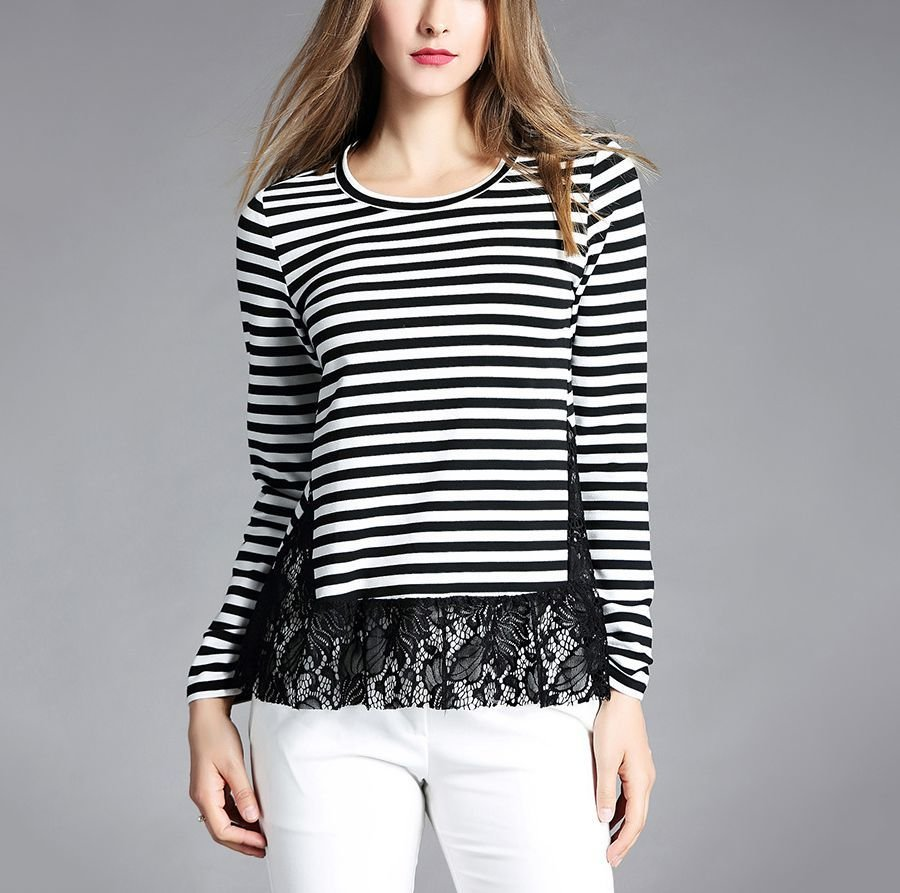 Top with Stripes and Lace Hem Insert