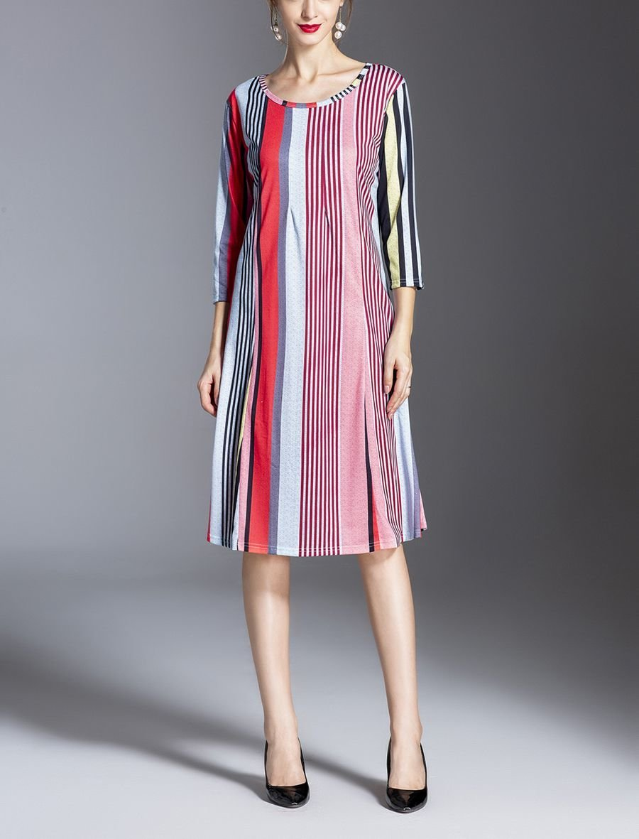 Work Dress with Vertical Stripes