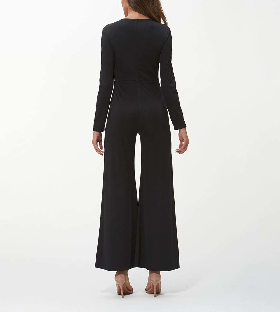 Silky Jumpsuit with Deep Plunge Front