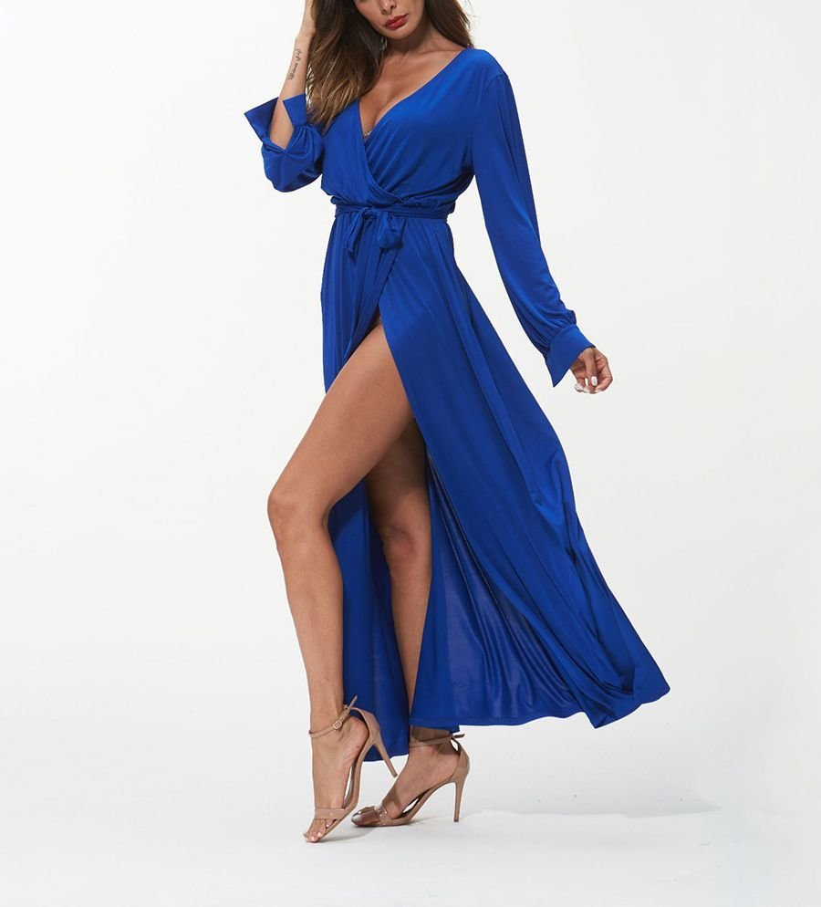 Long Wrapped Club Dress with Deep Plunge Neckline