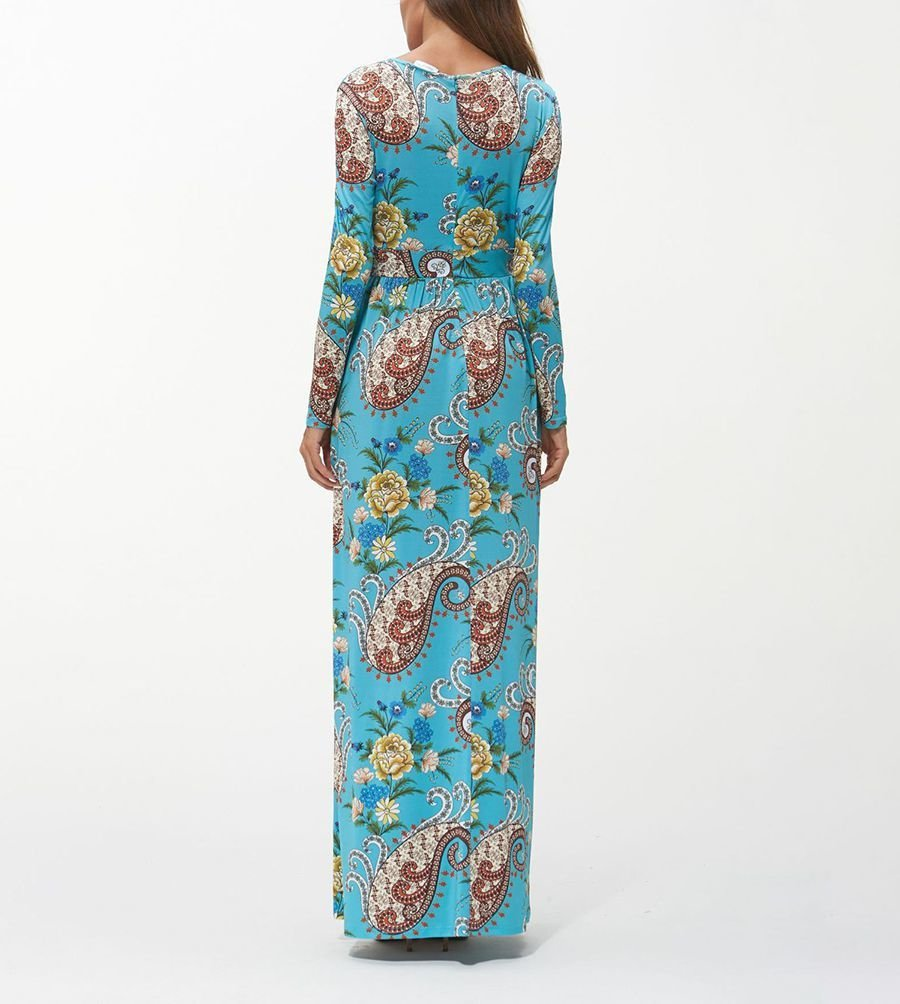 Long Formal Dress in Artificial Milk Silk Print