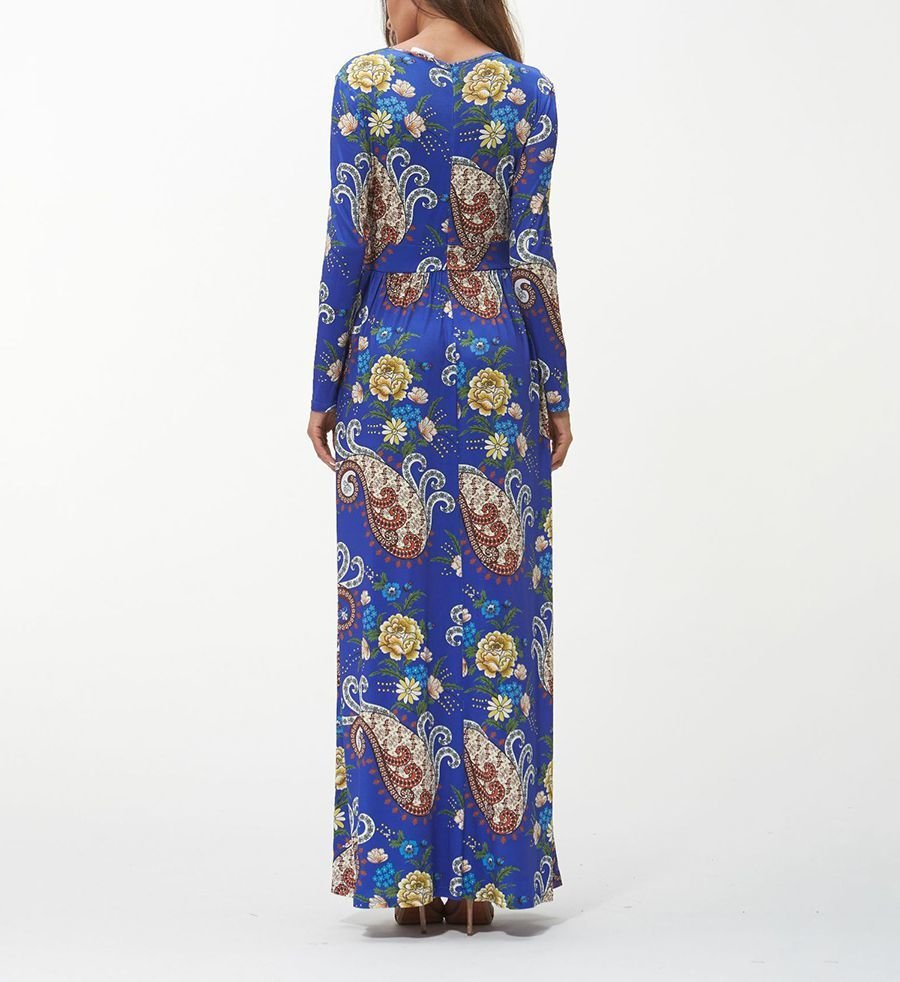 Long Formal Dress in Artificial Milk Silk Print