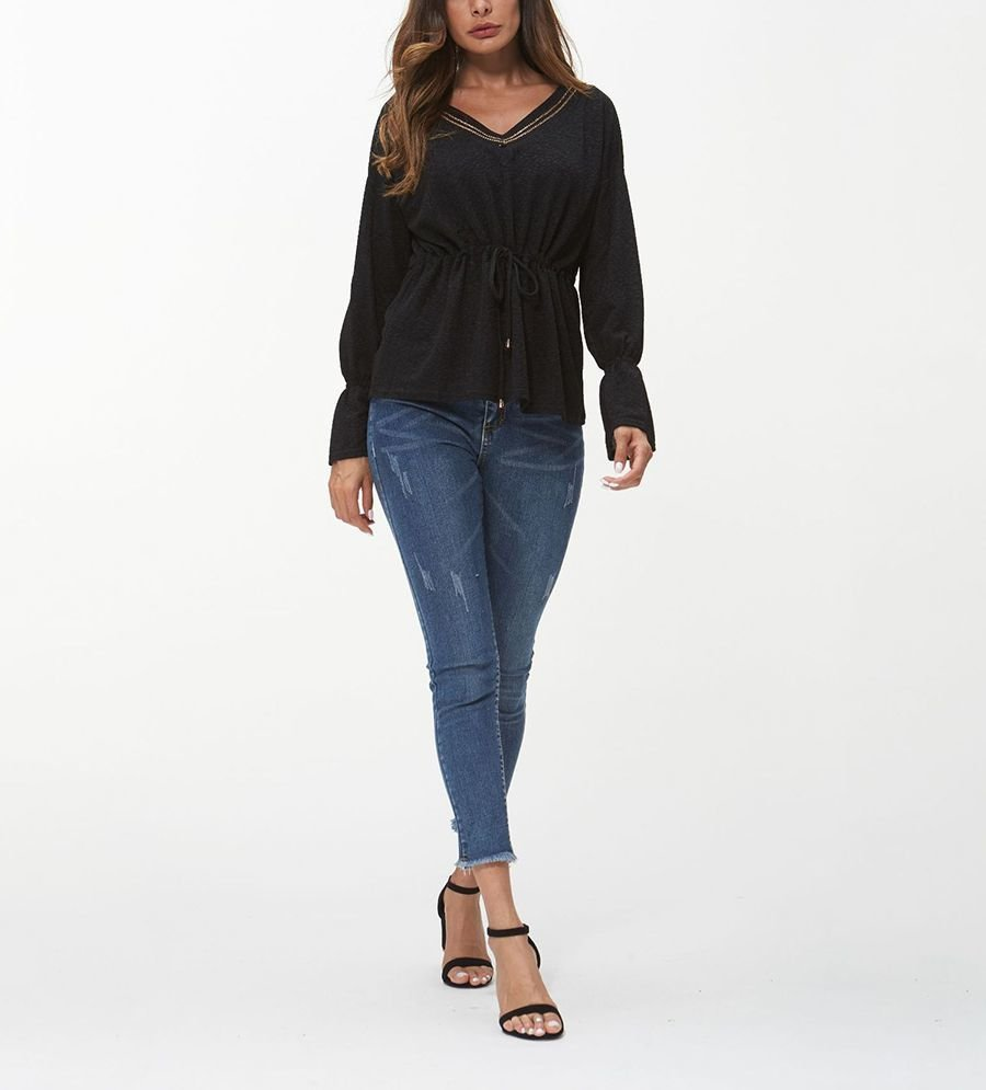 Knit Top with Drawstring at Empire Waist