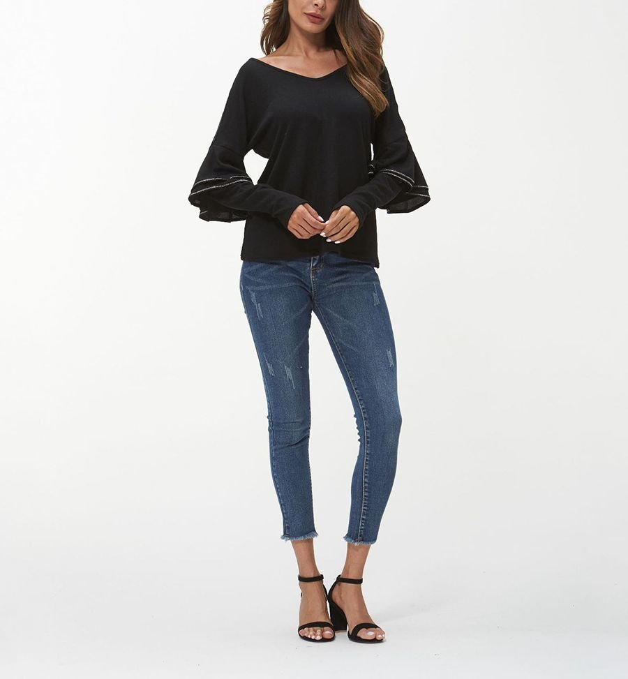 Knit Top with Ruffle Trim on Long Sleeves