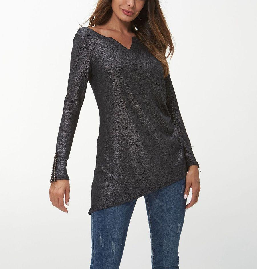Metallic Knit Top with Asymmetrical Hemline