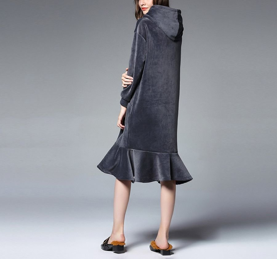 Casual Dress in Thick, Cozy Velour