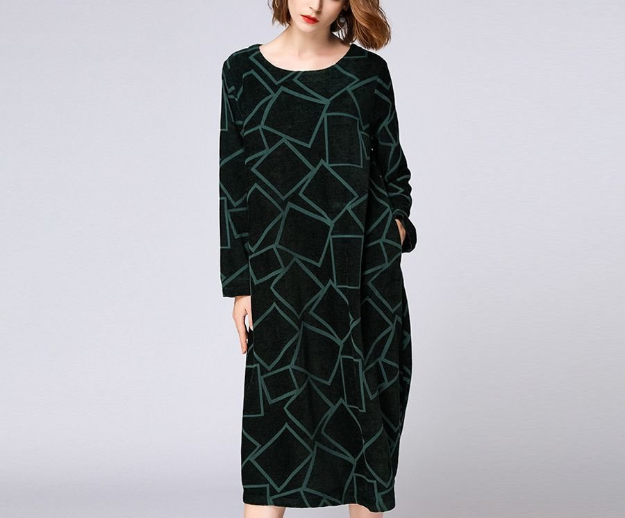 Knit Casual Dress in Embossed Fabric