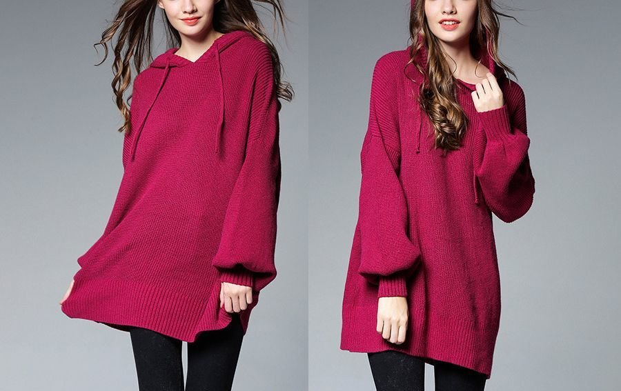 Large Size Ribbed Hoodie Top