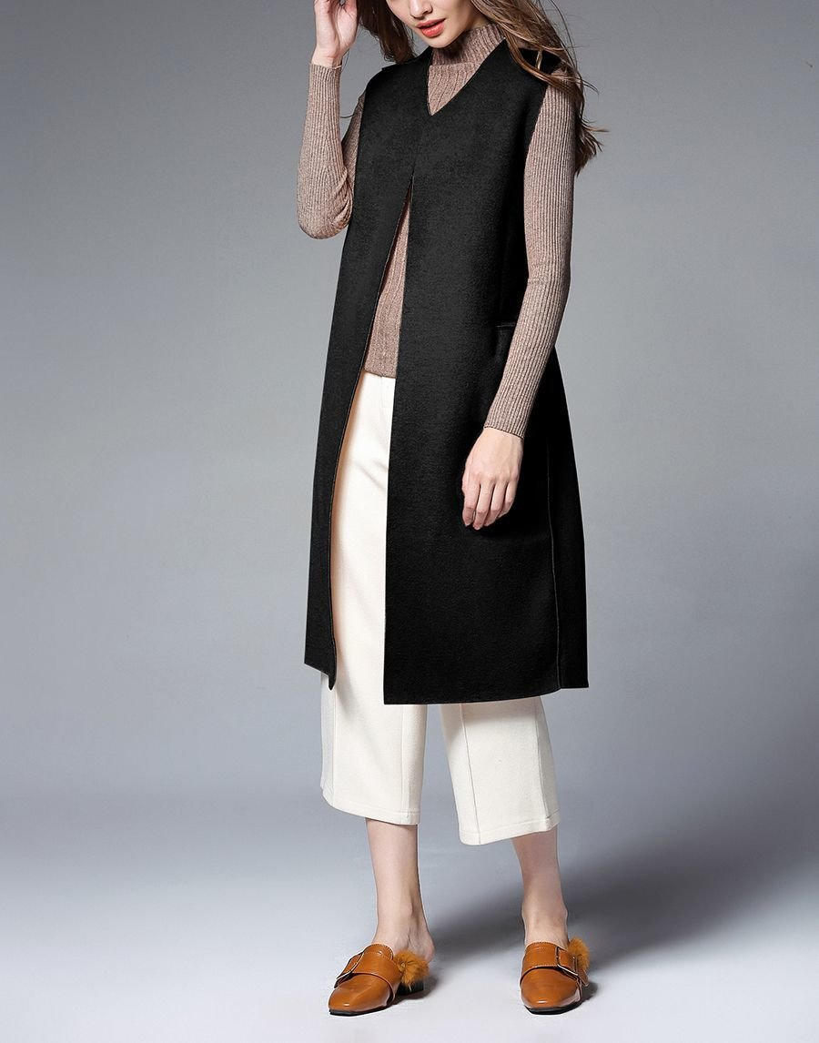 Cashmere Blend Sleeveless Coat
