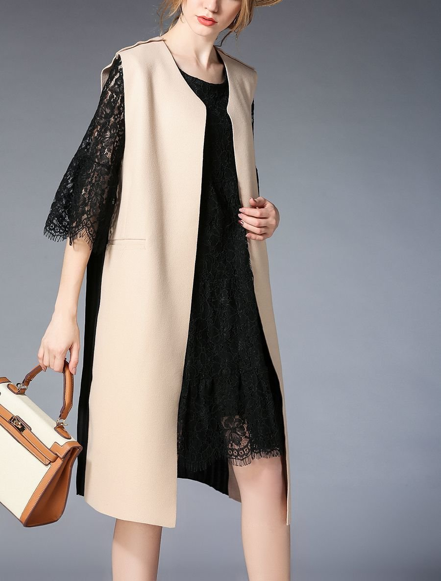 Wool Blend Sleeveless Coat