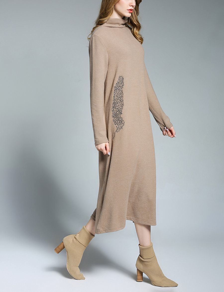 Brushed Knit Casual Dress