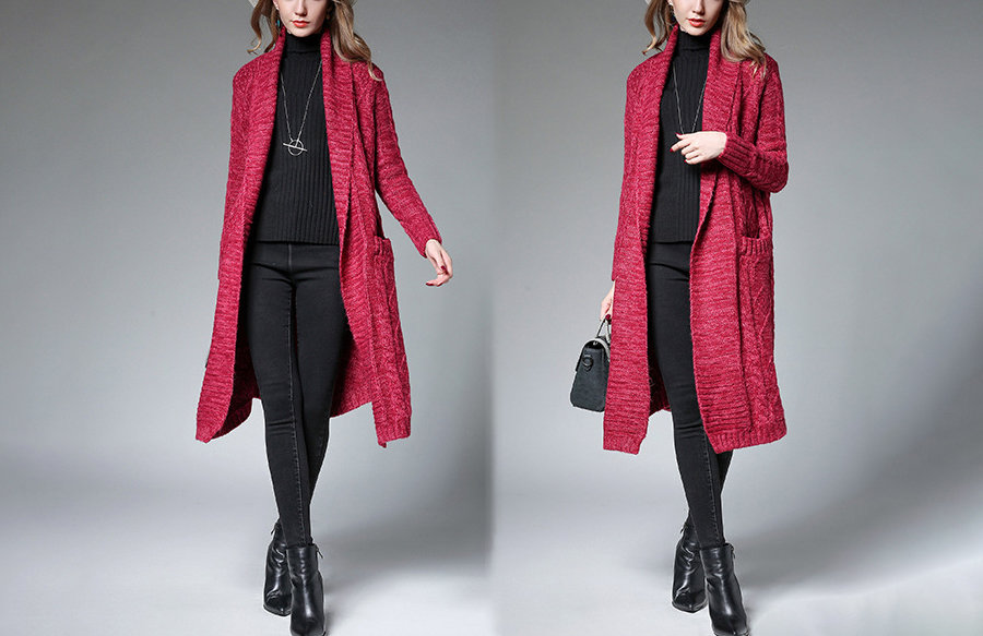 Wool Blend Knit Coat with Shawl Collar and Back Vent