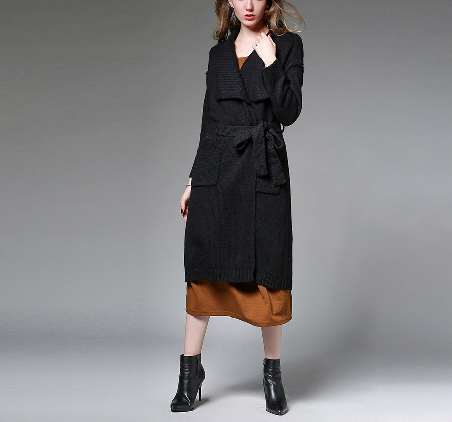 Wool Blend Knit Coat in Wrap Style with Wide Lapels