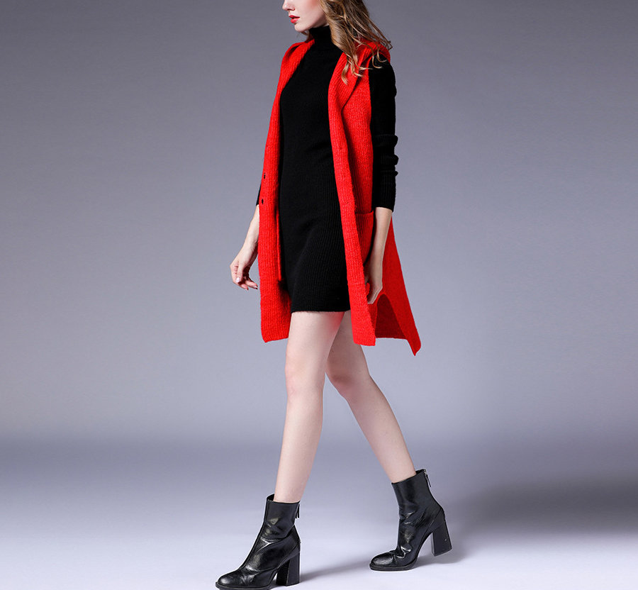 Sleeveless Knit Coat with Hood and Pockets