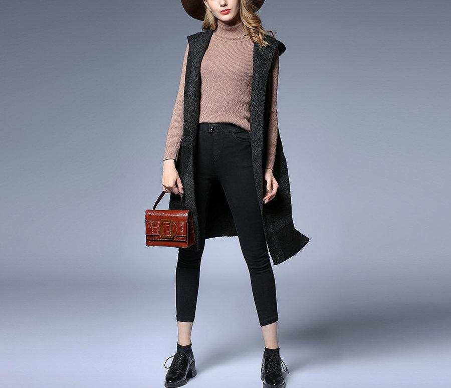 Sleeveless Wool Blend Coat with Hood