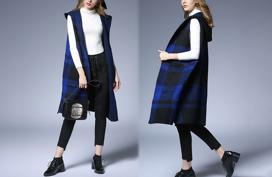 Sleeveless Wool Blend Coat with Hood
