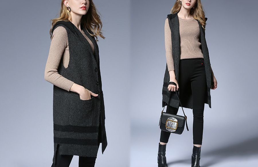 Sleeveless Knit Coat with Stripes and Hood