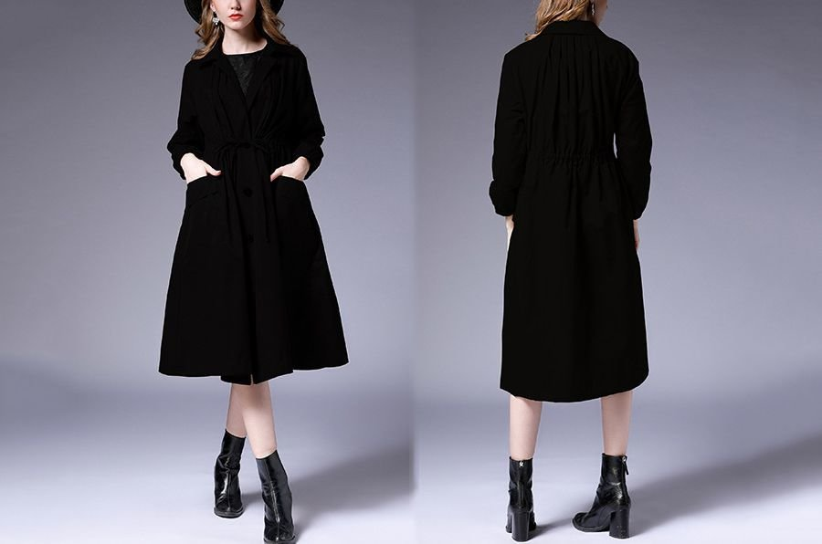 Large Size Tailored Coat with Drawstring Waist