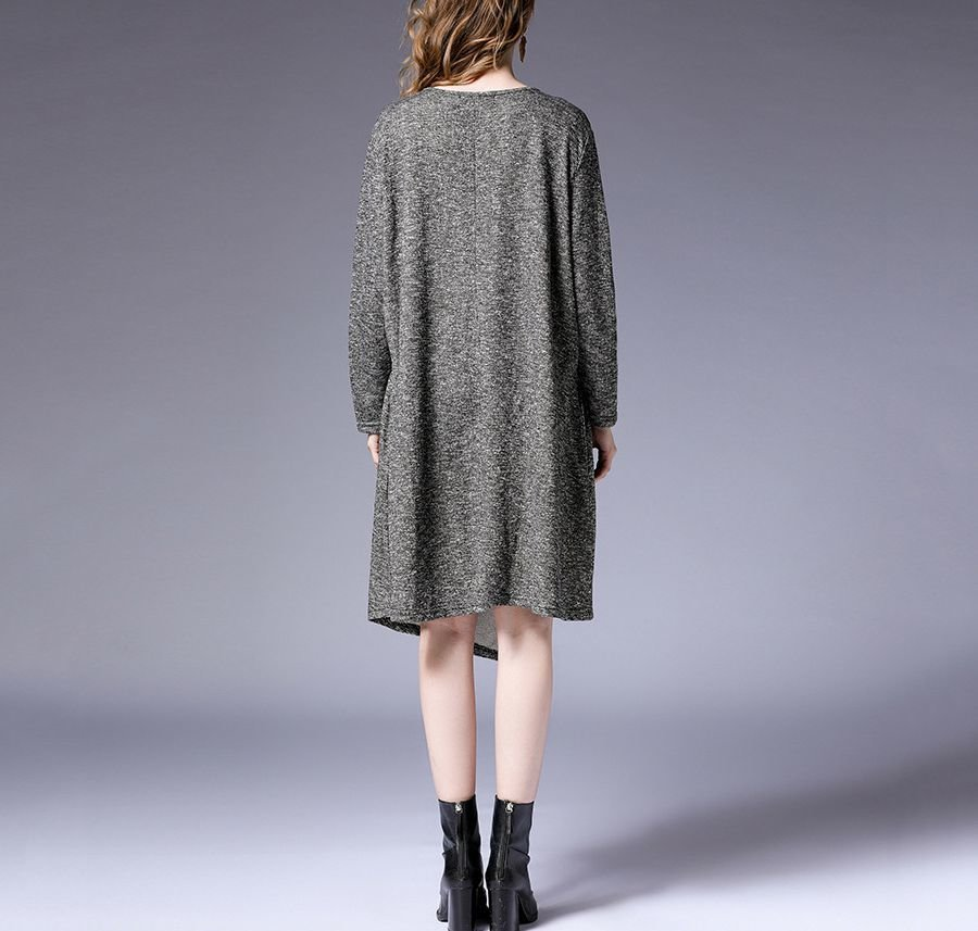 Cotton Knit Casual Dress with Loose Fit and Asymmetrical Front