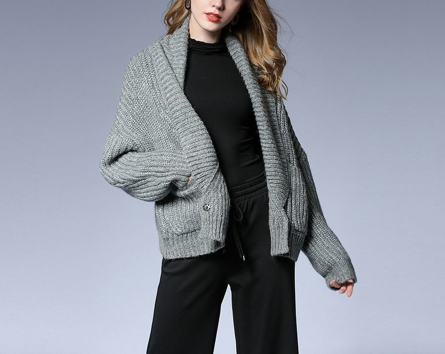 Large Size Coat with Shawl Collar and Hip Length