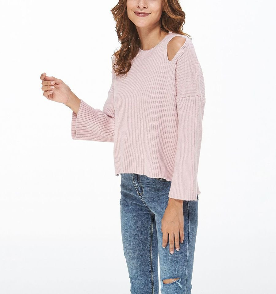 Cold Shoulder Ribbed Sweater with Flared Sleeves