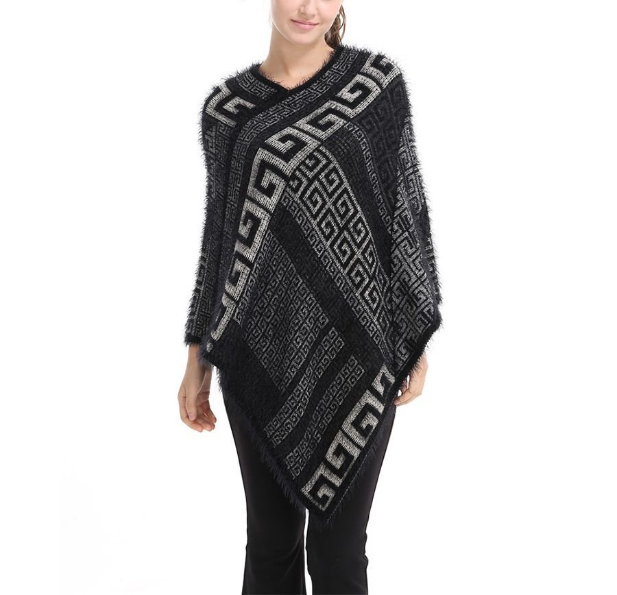 Sweater Knit Poncho with Geometric Designs