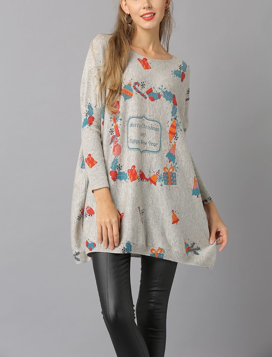 Holiday Print Knit Top