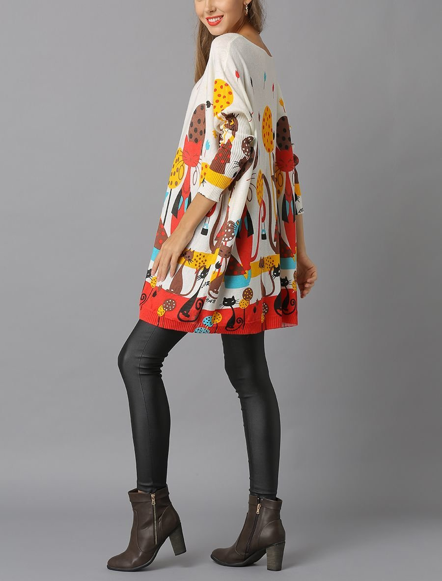 Knit Tunic Top with Whimsical Cat Print