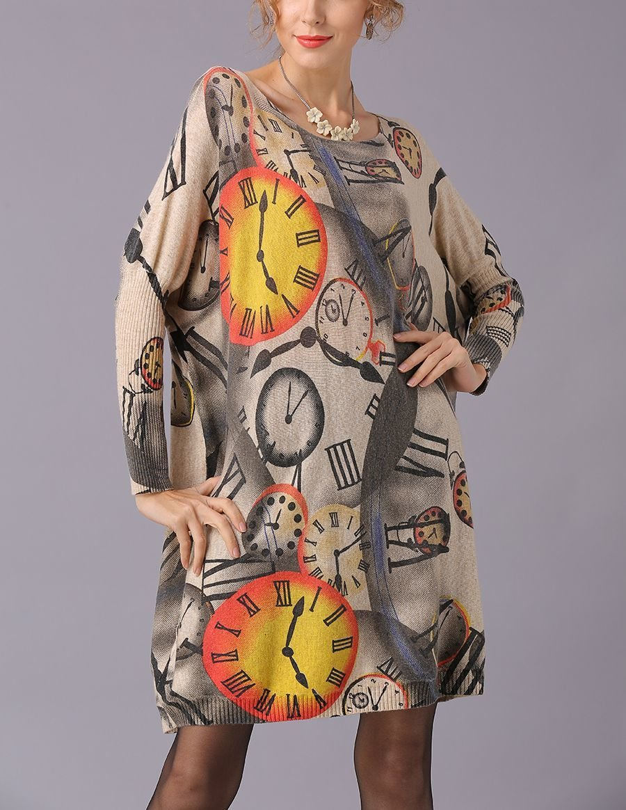 Knit Tunic Top with Clock Print