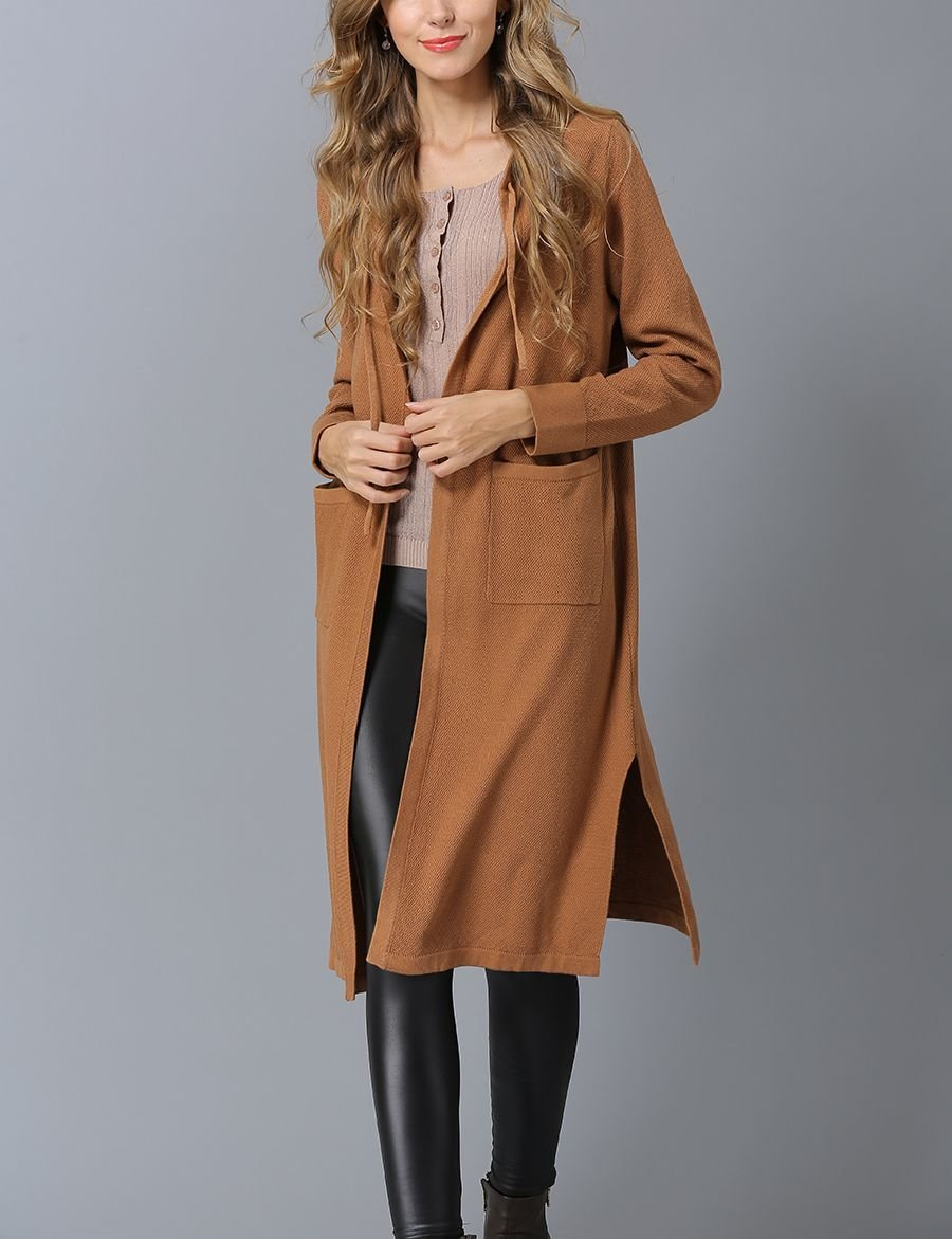 Knit Coat with Drawstring Hood and Patch Pockets