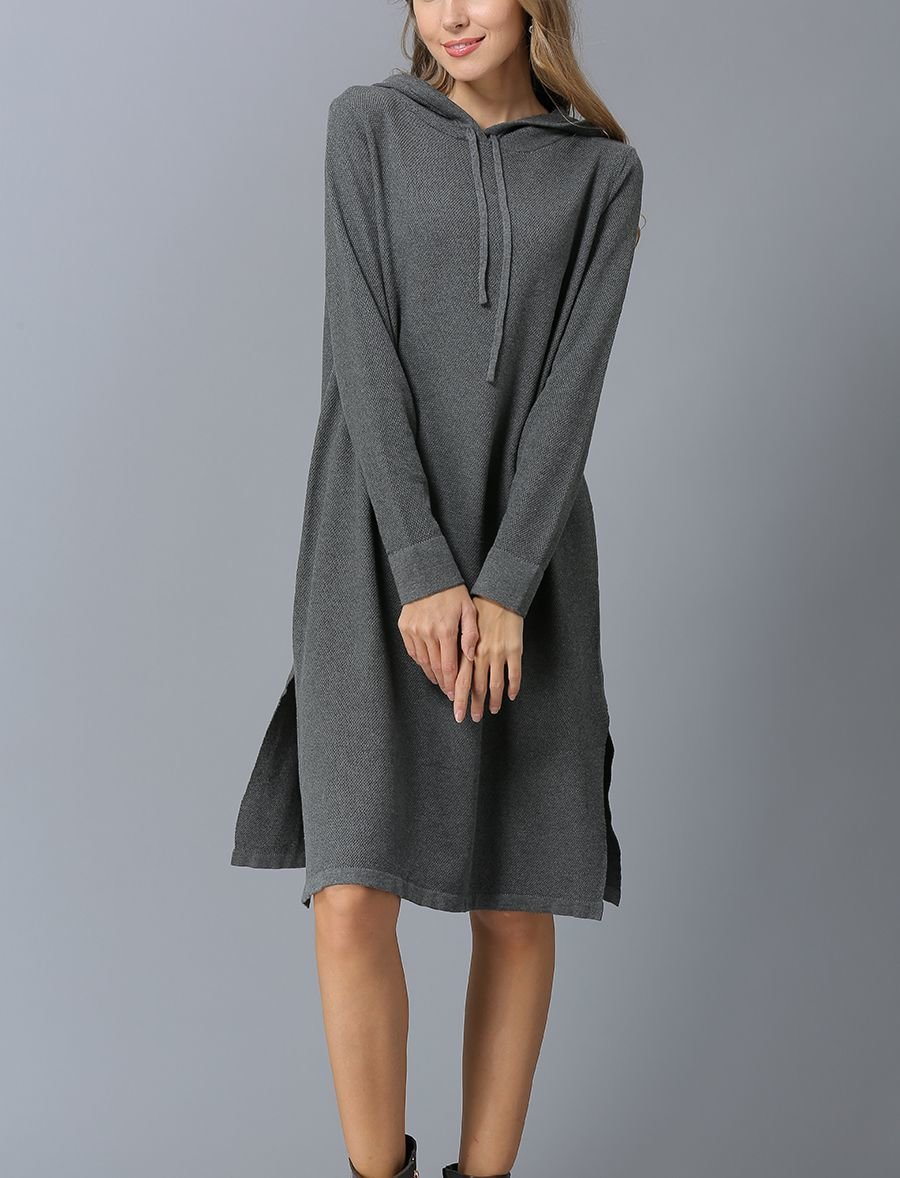 Hoodie Casual Dress in Quality Knit Fabric