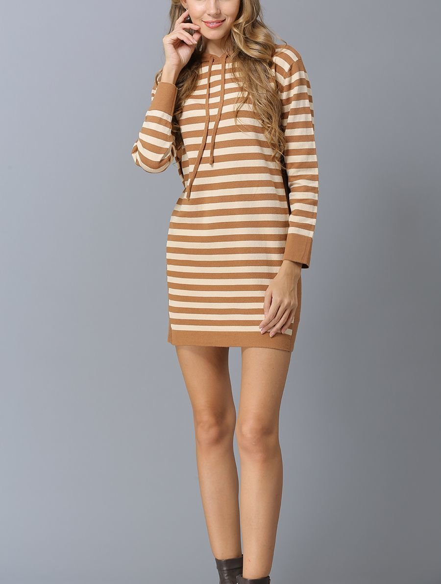 Striped Knit Casual Dress with Hood