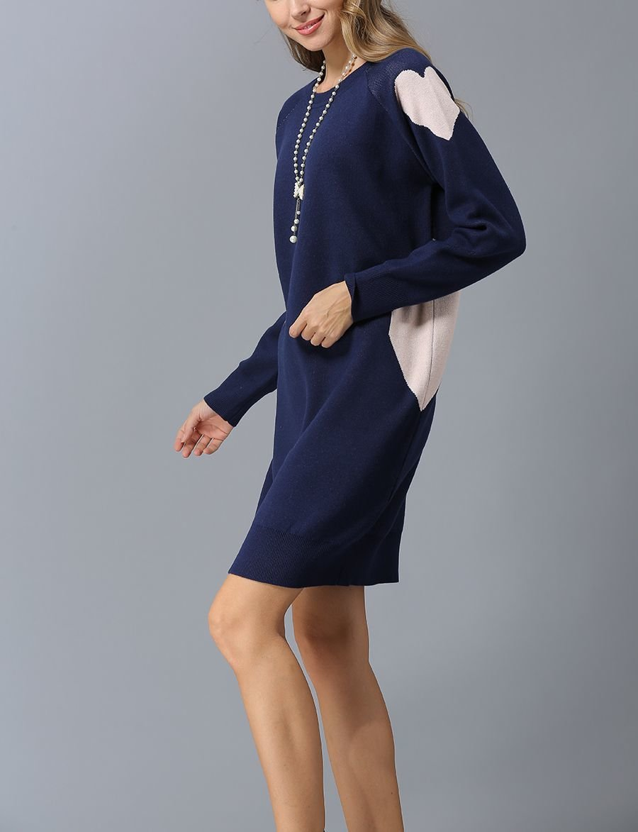Sweater Knit Casual Dress with Hearts and Diamonds Accents