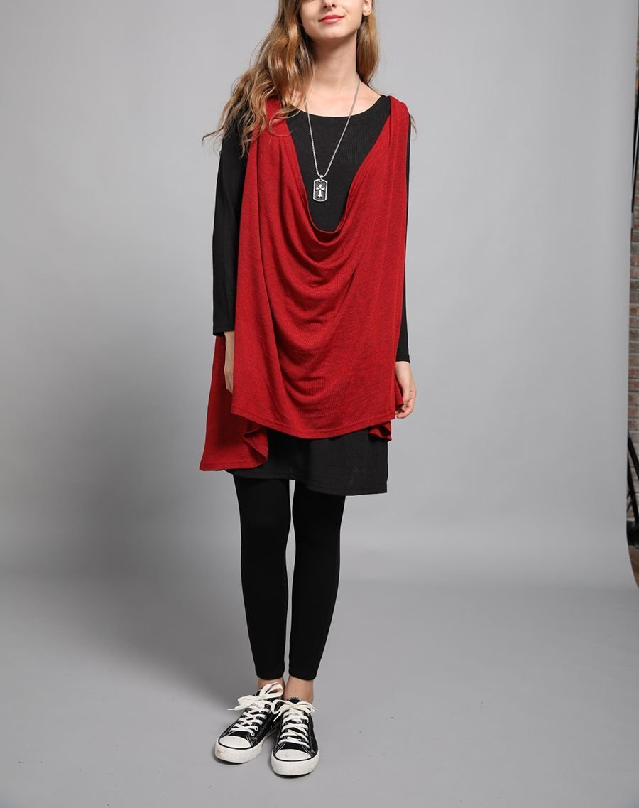 Two-Piece Top with Long Sleeves and Sleeveless Layers