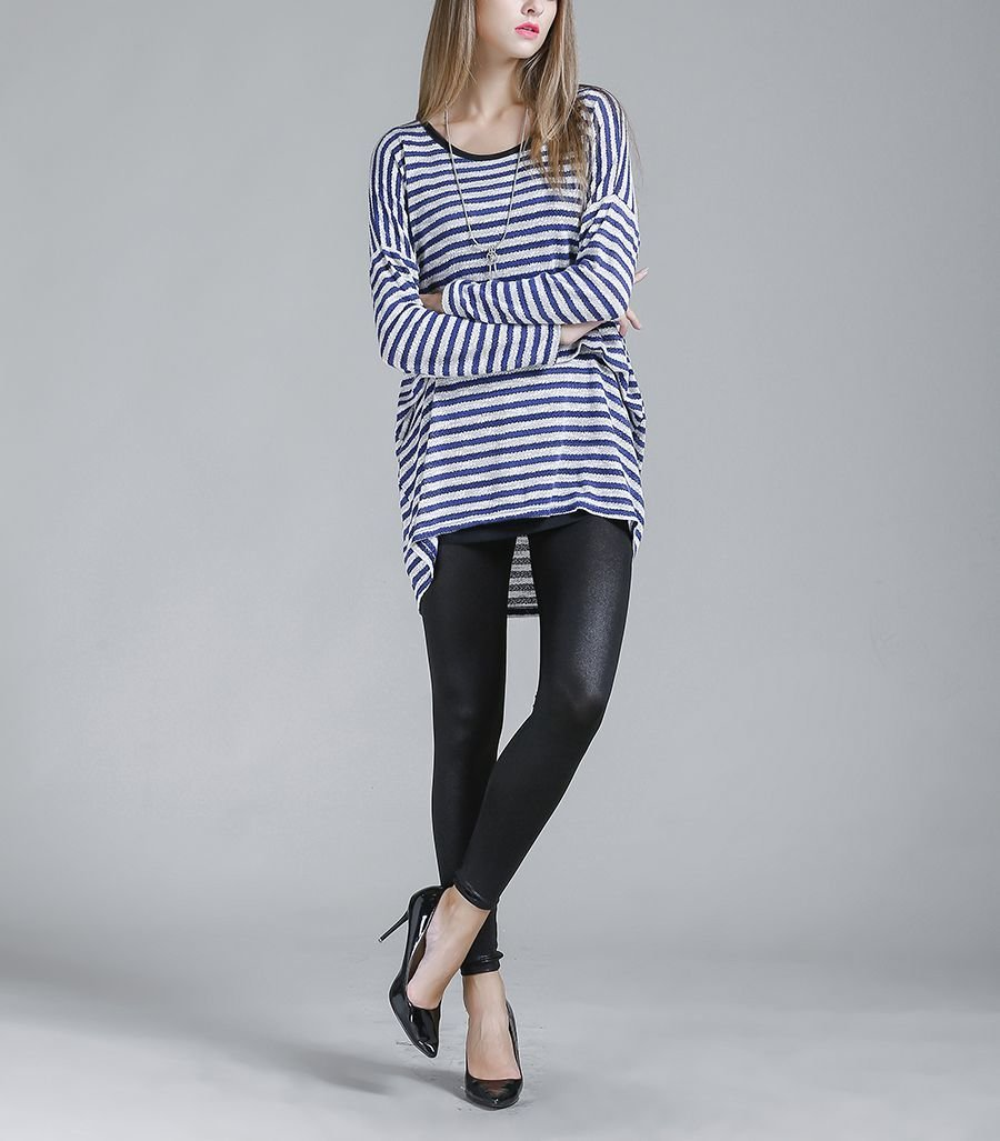 Striped Pullover Top in Large Sizes
