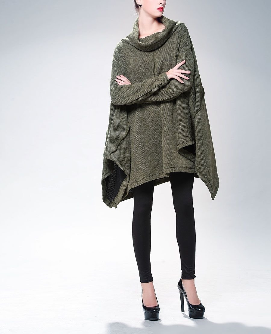 Warm Pullover Top with Cowl Neck