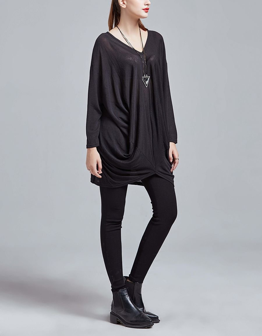 Draped Tunic Top with Long Sleeves
